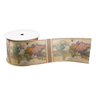 Vintage World Map Satin Ribbon