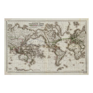 Vintage World Map Showing Telegraph Lines (1871) Poster