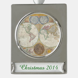 Vintage World Map Silver Plated Banner Ornament