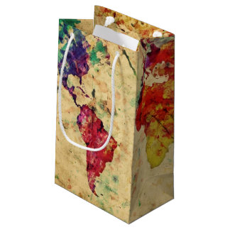 Vintage world map small gift bag
