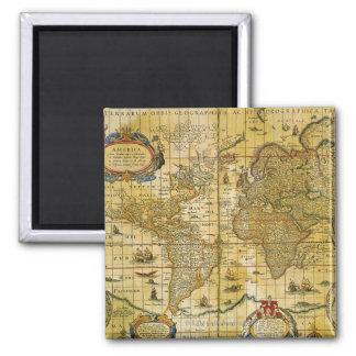 Vintage World Map Square Magnet