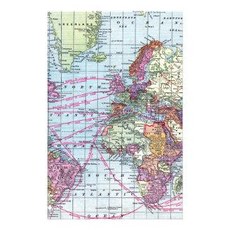 Vintage world map stationery