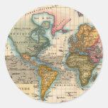 Vintage World Map Stickers