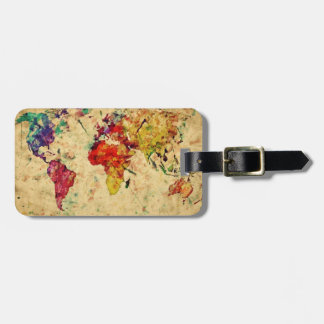 Vintage world map tags for bags