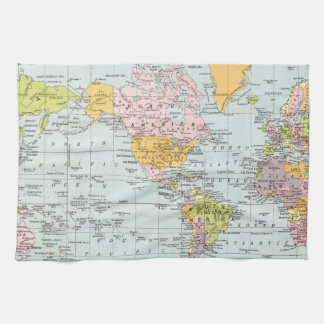 Vintage World Map Tea Towel