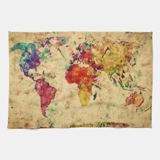 Vintage world map tea towel