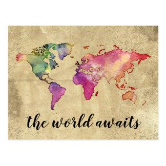 Vintage World Map | The World Awaits Postcard