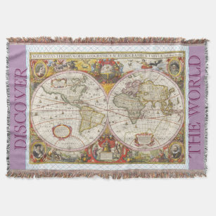 World map blankets bed blankets zazzle uk vintage world map throw blanket gumiabroncs Images