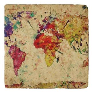 Vintage world map trivet
