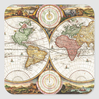 Vintage World Map Two Hemispheres Rare Antique Art Square Sticker