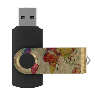 Vintage world map USB flash drive
