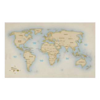 Vintage world map with countries poster