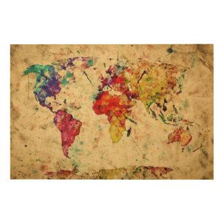 Vintage world map wood wall art
