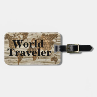 Vintage World Map World Traveler & Name Luggage Tag