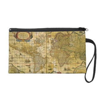 Vintage World Map Wristlet Clutch