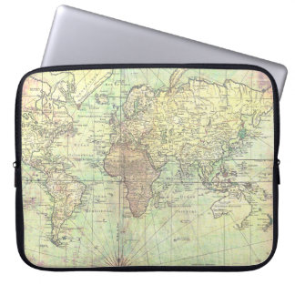 Vintage World Map Yellow Antique Laptop Computer Sleeve