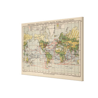 Vintage World Sailing Routes Map (1914) Canvas Print