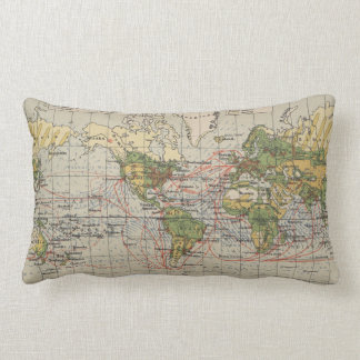 Vintage World Sailing Routes Map (1914) Lumbar Cushion