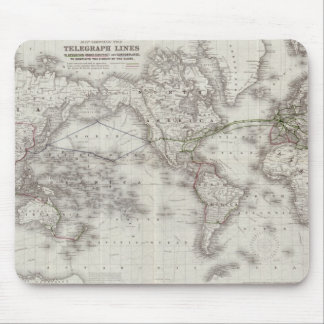 Vintage World Telegraph Lines Map (1855) Mouse Pad