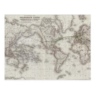 Vintage World Telegraph Lines Map (1855) Postcard
