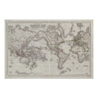 Vintage World Telegraph Lines Map (1855) Poster