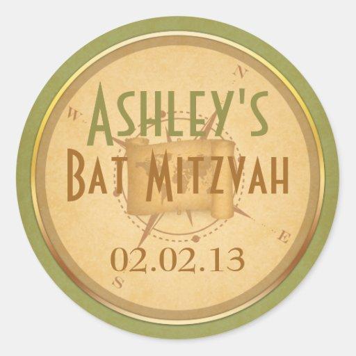 Vintage World Travel Compass Bat Mitzvah Round Sticker