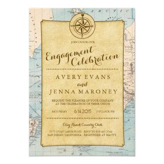 Vintage World Travel Map Engagement Party 13 Cm X 18 Cm Invitation Card