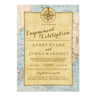 Vintage World Travel Map Engagement Party Card