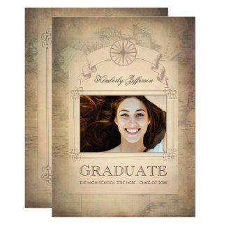 Vintage World Travel Map Graduation Party 13 Cm X 18 Cm Invitation Card