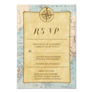 Vintage World Travel Map Wedding RSVP 9 Cm X 13 Cm Invitation Card