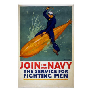 Vintage World War 1 Join the Navy Poster