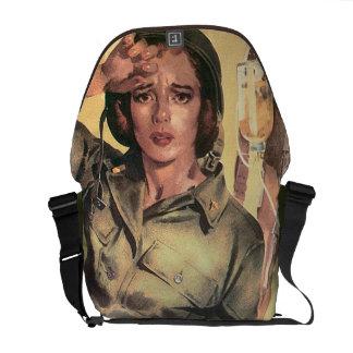 Vintage World War 2 Army Nurse Military Retro Courier Bags