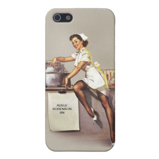 Vintage World War 2 PinUp Nurse Custom Name Retro iPhone 5/5S Cases
