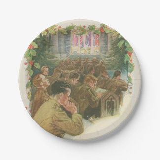 Vintage World War Christmas 7 Inch Paper Plate