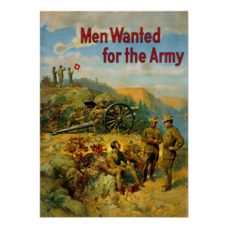 Vintage World War I Men Wanted for the Army Poster