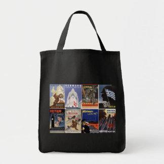 Vintage World War II Allied Effort War Posters Grocery Tote Bag