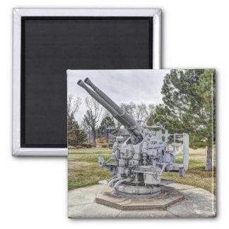 Vintage World War II Anti-Aircraft Gun Square Magnet