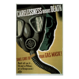 Vintage World War II Gas Mask Safety Poster