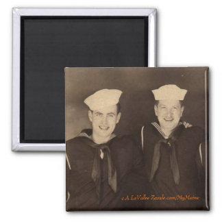 Vintage World War II Sailors Square Magnet
