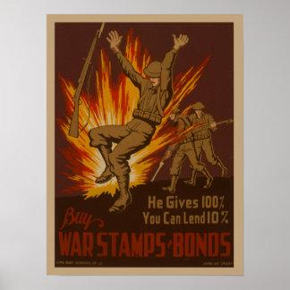 Vintage World War II USA Britain War bonds poster