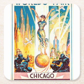 Vintage Worlds Fair Chicago Poster 1933 Square Paper Coaster