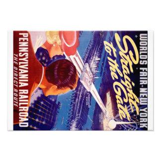 Vintage Worlds Fair New York 1939 Poster Art Photo