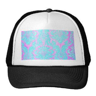 Vintage worn chic hipster damask pink light blue mesh hats