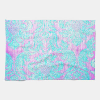 Vintage worn chic hipster damask pink light blue hand towels