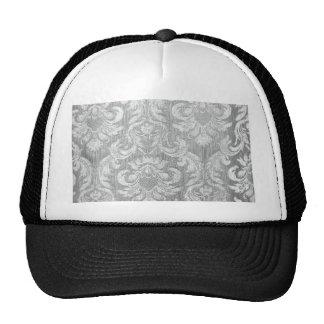 Vintage worn chic hipster damask silver grey white trucker hats