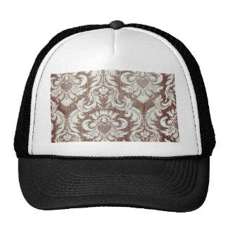 Vintage worn chic hipster damask white beige gold hat