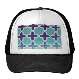 Vintage worn chic hipster textile navy blue white trucker hat