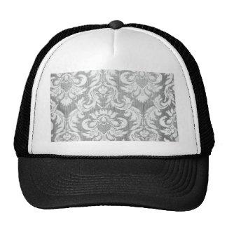Vintage worn damask grey silver grey white chic mesh hats