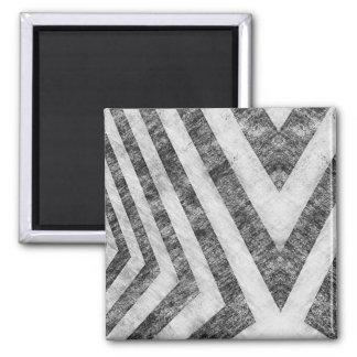 Vintage Worn Hazard Stripes Textured Magnet