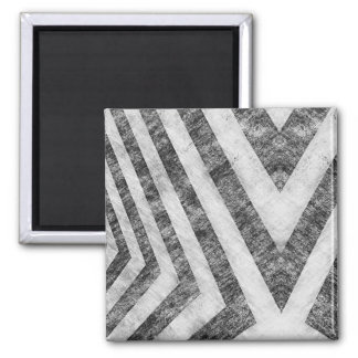 Vintage Worn Hazard Stripes Textured Square Magnet